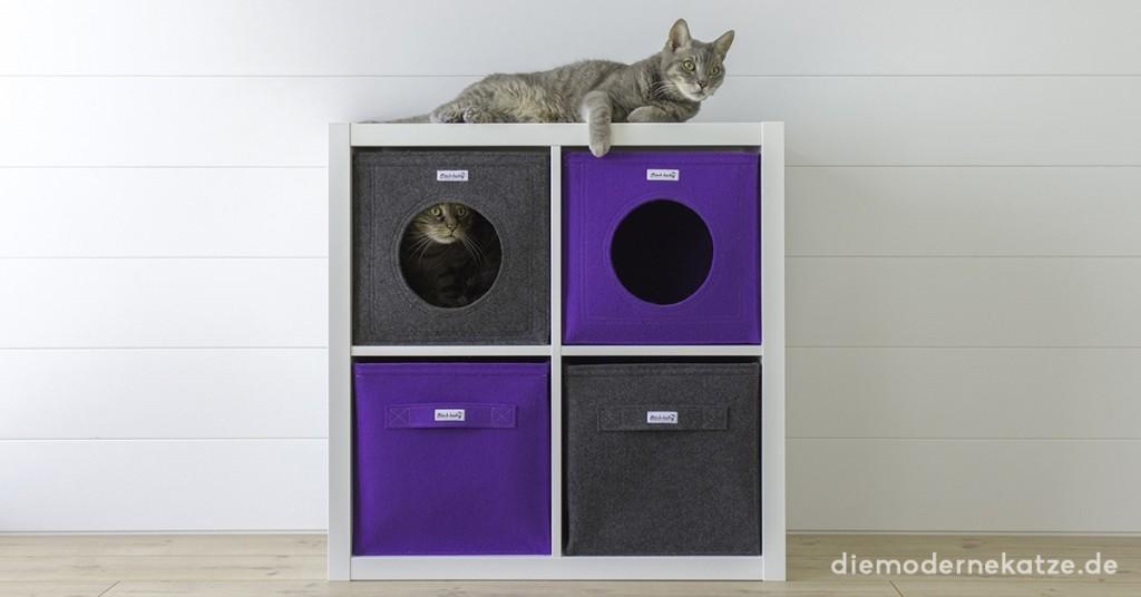 Filz Katzenhöhle für Ikea Kallax Bild: diemodernekatze.de