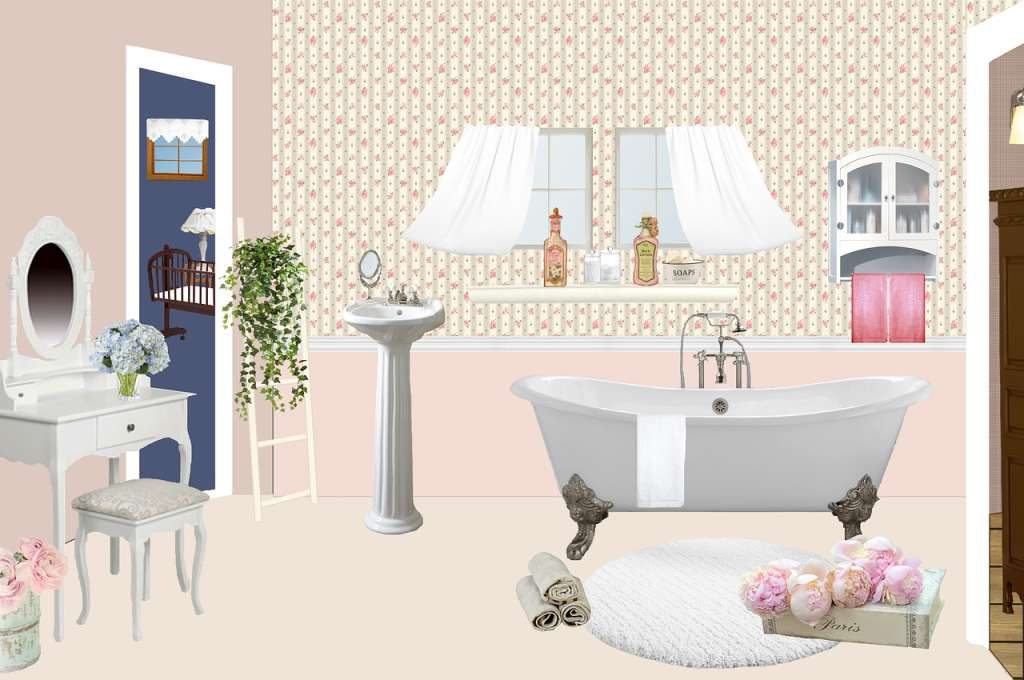 Landhauslook im Badezimmer